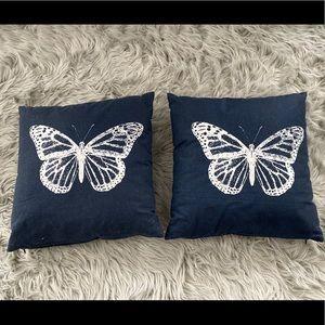 Navy Butterfly Throw Pillow Set of 2
